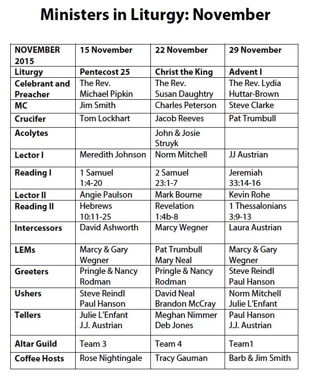 Liturgy Ministers November