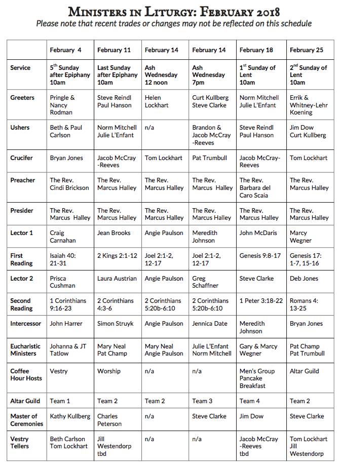 Ministers in Liturgy – February 2018